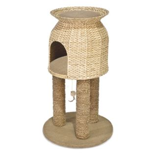 Ware Hyacinth and Jute Scratch and Sleep Cat Tower   Scratchers   Furniture & Scratchers