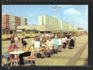 alte AK Magdeburg, Karl Marx Straße, Straßenbahn, Eis Café Terrasse