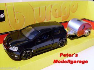 Vw Golf GTI schw + Camping, Bburago Auto Modell 132, Neu