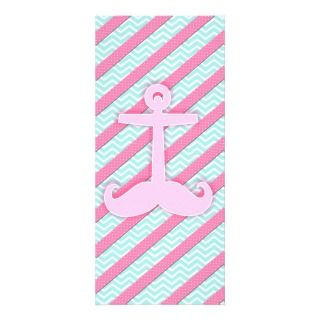 Cute Anchstache pink polka dots stripes chevron Rack Cards
