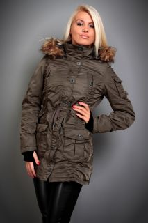 Damen MANTEL PARKA Jacket Winterjacke JACKE Kapuze 36 38 40 42 S M L