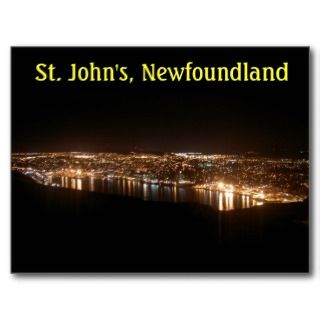 St. Johns Cityscape at Night Postcard