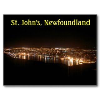 St. Johns Cityscape at Night Postcard