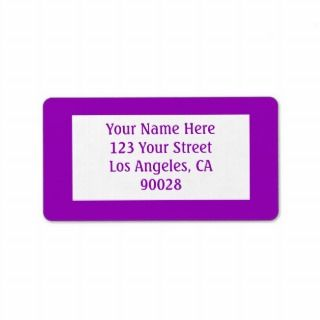 bright purple color personalized address label