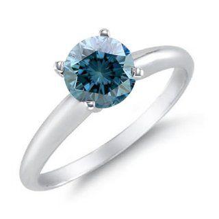 Damen Solitär Ringe 14 Karat (585) Weißgold Blau Diamant 0.5 Karat
