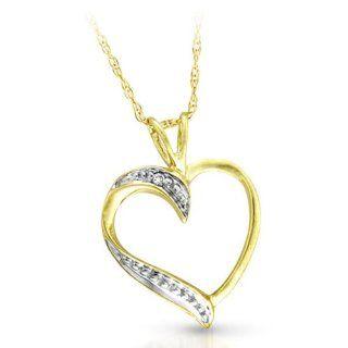Süßer 9 Karat (375) Gold Herz Damen   Diamant Anhänger + Kette