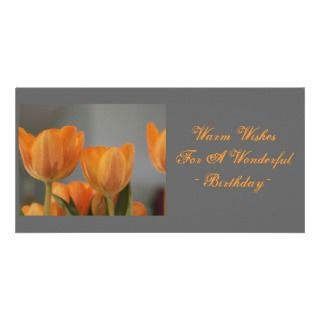 Warmest birthday wishes, orange Tulips Photo Cards