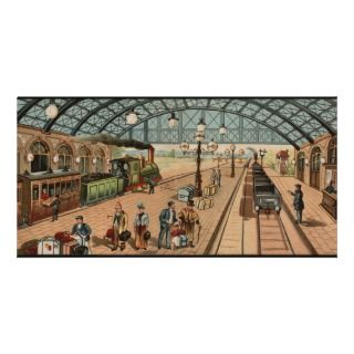 Vintage Steam train and station scene Photo Card