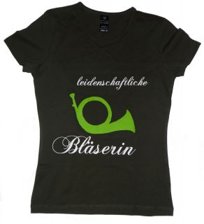 Damen T Shirt Jäger Jägerin leidenschaftliche Bläserin Jagdhorn Neu