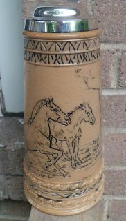DOULTON LAMBETH HANNAH BARLOW INCISED HORSES STERLING SILVER TANKARD