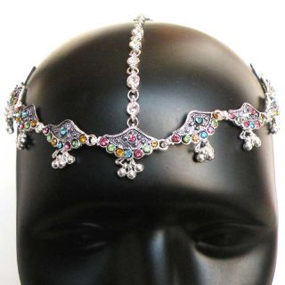 BellyDance JEWELRY BOLLYWOOD INDIAN SILVER PL CZ matha patti FOREHEAD