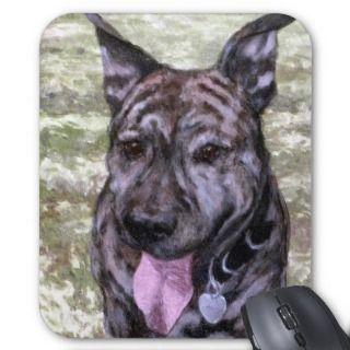 Brindle Amstaff American Staffordshire Terrier Dog Mousepad
