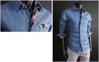 Herren Designer Hemd Slim Fit Shirt Jeans Hemd Blau L