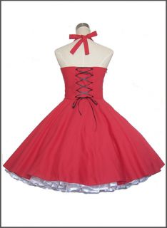 50S 60S Vintage Style Rock n Roll ROCKABILLY SWING KLEID Unterrock