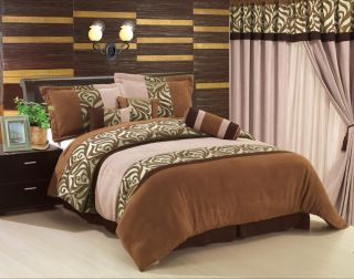 Brown Floral Soft Suede Comforter Bed in a Bag Set King