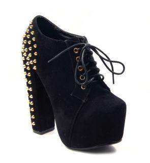 HIGH Heels Ankle Boots Partyschuhe schwarz Nieten Party Schuh 35 40