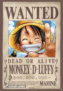 PIECE POSTER: WANTED RUFFY (98 x 68 cm) / anime manga monkey d. luffy