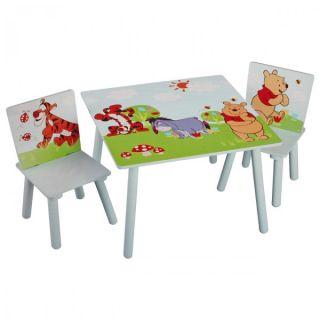 Disney Winnie Pooh Tisch + 2 Stühle 60x60cm Holz Kindersitzgruppe