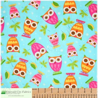 Robert Kaufman On a Whim Owls Blue Cotton Quilt Fabric