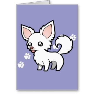 Cartoon Chihuahua (white long coat) cards by SugarVsSpice
