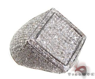 Mens Diamond 10k White Gold Round Cut H Color SI1 Ring 2.75ct