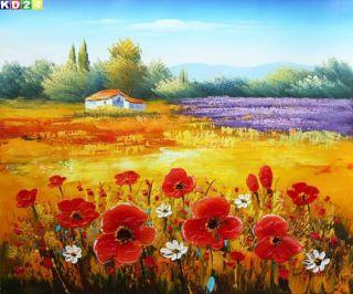 Roter Mohn in der Toscana c80707 50x60cm Top Ölgemälde Modern Art