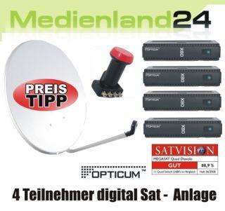 Teilnehmer Sat Anlage Opticum digital X80 FTA Quad LNB 80cm Spiegel