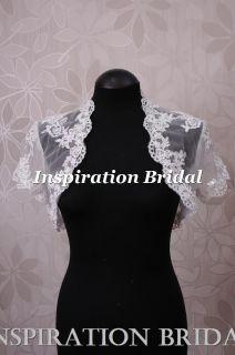 Sale wedding dress bridal short sleeves lace bolero beading white
