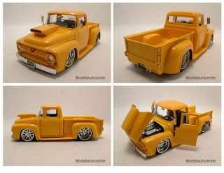 Ford F 100 1956 Pick Up gelb Hot Rod / Tuning, Modellauto 124 / Jada