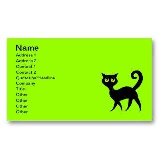 BLACK CARTOON CAT WALKING BIG EYES ADVENTUROUS BUSINESS CARD
