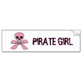 Pink Ribbon Jolly Roger Pirate Girl Sticker Bumper Stickers