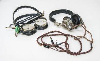 x89 2 alte Kopfhörer für Detektor Radio / Funkgerät