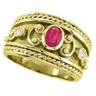 Allurez   Oval Shaped Ruby & Diamant Byzantinischen Ring 14K Gelbgold