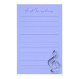 Blue Treble Clef Music Symbol Stationery