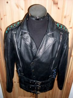 Punk Vintage Lederjacke 80`s Jumbo 40 Motorrad Jacke VqMGSzUp
