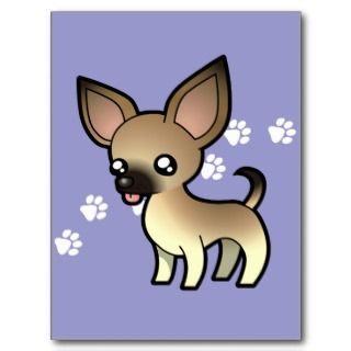 Cartoon Chihuahua (fawn sable smooth coat) postcards by SugarVsSpice