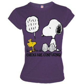 LOGOSHIRT Snoopy & Woodstock Retro Girl Shirt CHICKS CONFUSING Lila