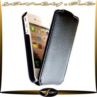 Apple iPhone 4 S/G Flip Leder Tasche Schutz Hülle Etui Case 1 10