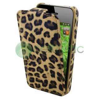 Girlish Brown Leopard leather Flip Cover Case For iPhone 4 4S 4G