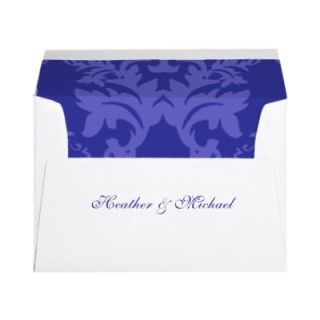 Simple Damask Royal Blue Wedding Invitation