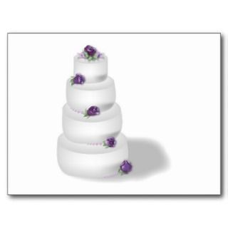 Four Tiered Wedding Cake with Lavender Roses Postcard
