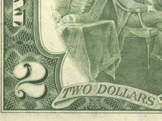 Close Up of Number and Text on Two Dollar Bill Photographic Print