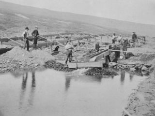Sluicing on Number Two Claim at Anvil Creek Nome Alaska During the Gold Rush Photographic Print by Hegg