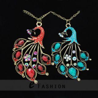 Halskette Pfau Anhänger Retro Strass Damen Lange Kette necklace NEU