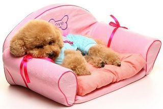 Princess Pink Dog Cat Sofa Bed House Kennel Medium