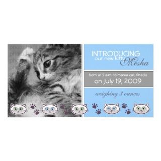 New Pet Birth Announcement Customized Photo Card