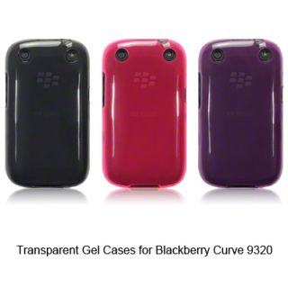 TPU Gel Case / Cover for Blackberry Curve 9320 / Smoke Black, Pink