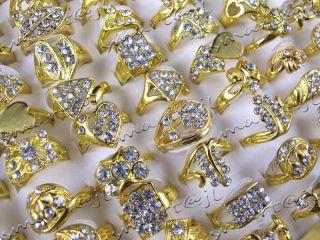 Good Quality Mixed 25pcs Jewellery GOLD/P &CZ Rhinestone Lady Rings