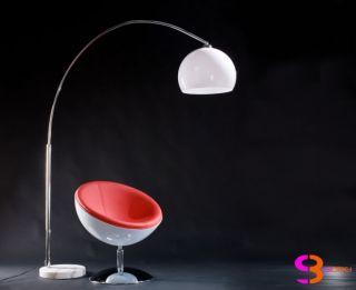 XXL Design Retro Bogenlampe Stehlampe MOONBOW 194cm Weiss Marmorfuss