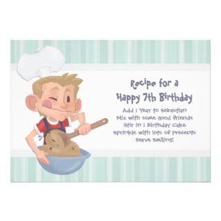 Boys Cooking Birthday Party Invitation